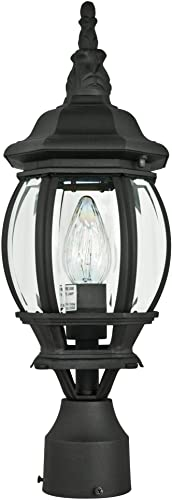 Sunset Lighting F7896-31 One Light Post, Black Finish with Clear Beveled Glass