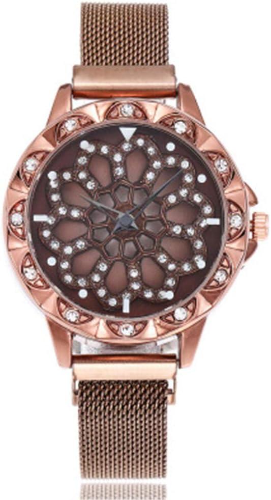 YZCKW Esfera Hueca Reloj Giratorio Vestido De Hierro Succión Vestido Mesa Decoración A-Oro Rosa Reloj De Pulsera