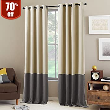 Great NICETOWN Block Color Blackout Curtains   Home Decor Two Tone Thermal  Insulated Grommet Top Blackout Curtains