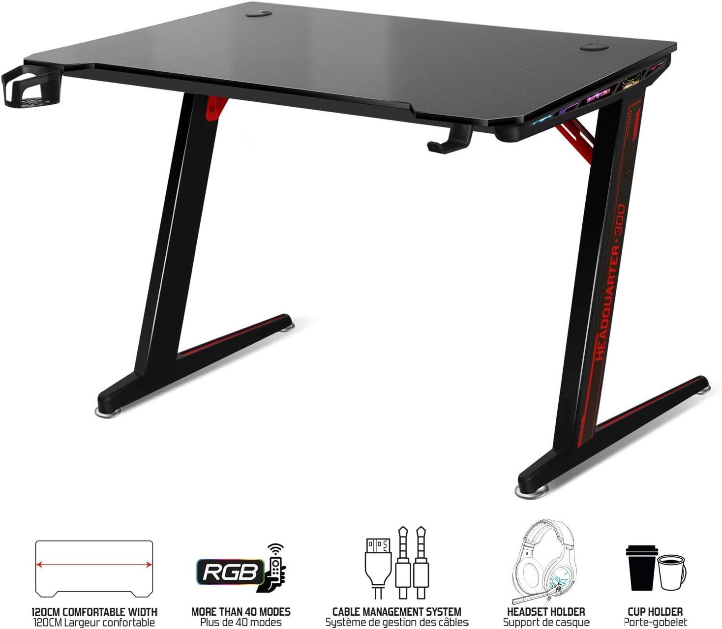 Spirit Of Gamer – HEADQUARTER-300 – Grand Bureau pour PC Gaming Ergonomique RGB/Table LED Gamer en Bois Massif Effet Carbone/Pieds Métalliques Robustes / 2 Câble Management