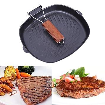 Sartén antiadherente para cocinar carne, parrilla plegable ...