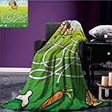 Kids Activity waterproof blanket Cartoon Style Hungry Puppy Wants Bone Maze Game Design with Extra Pathways plush blanket Multicolor size:50''x60''