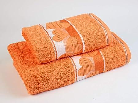 Pack Toalla Lavabo Y Ducha Corazones Naranja: Amazon.es: Hogar