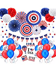 4th of July Decorations Set, 45Pcs Patriotic Decorations Including Paper Fans, Balloons,Star Streamer,Pom Poms,Stickers,USA Flag Pennant,Independence Day Party Decor Supplies