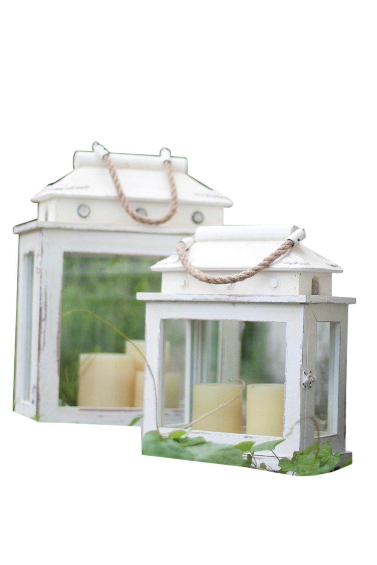 Kalalou Whitewashed Rectangle Wooden Lantern, Set of 2