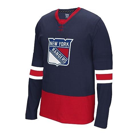 4cfc2a22f9cd Reebok NHL New York Rangers Mens Face Off Jersey Long Sleeve Tee Shirt  (Medium)
