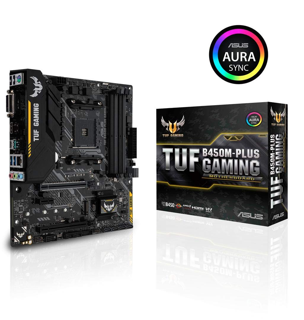 ASUS TUF B450 Gaming Motherboard AMD Ryzen 2 AM4 DDR4 HDMI DVI-D M.2 Micro ATX (TUF B450M-Plus Gaming)