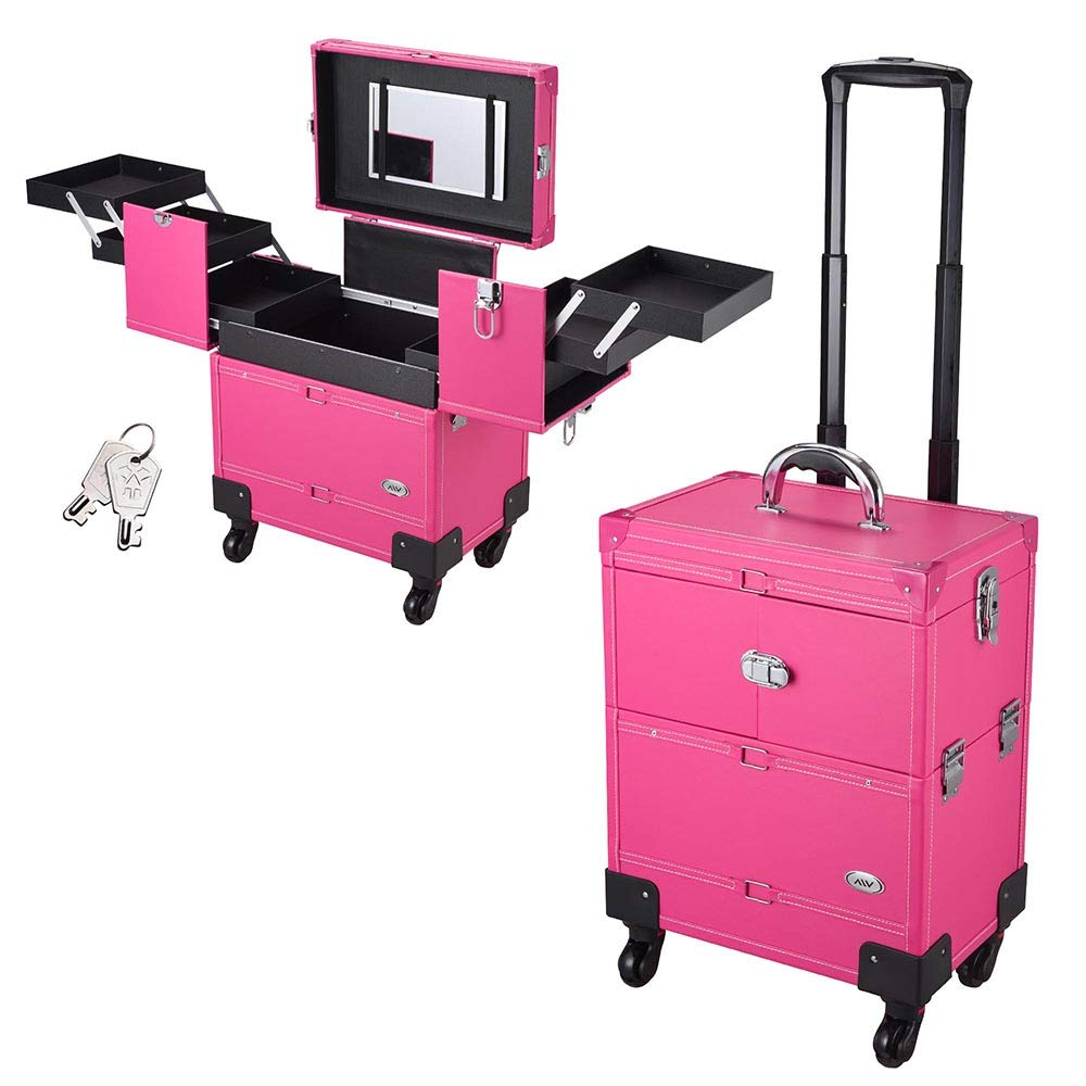 AW Pro Rolling Makeup Case Artist Beauty Train Case Trolley Cosmetic Organizer Box Handle Mirror 4 360-degreed wheels