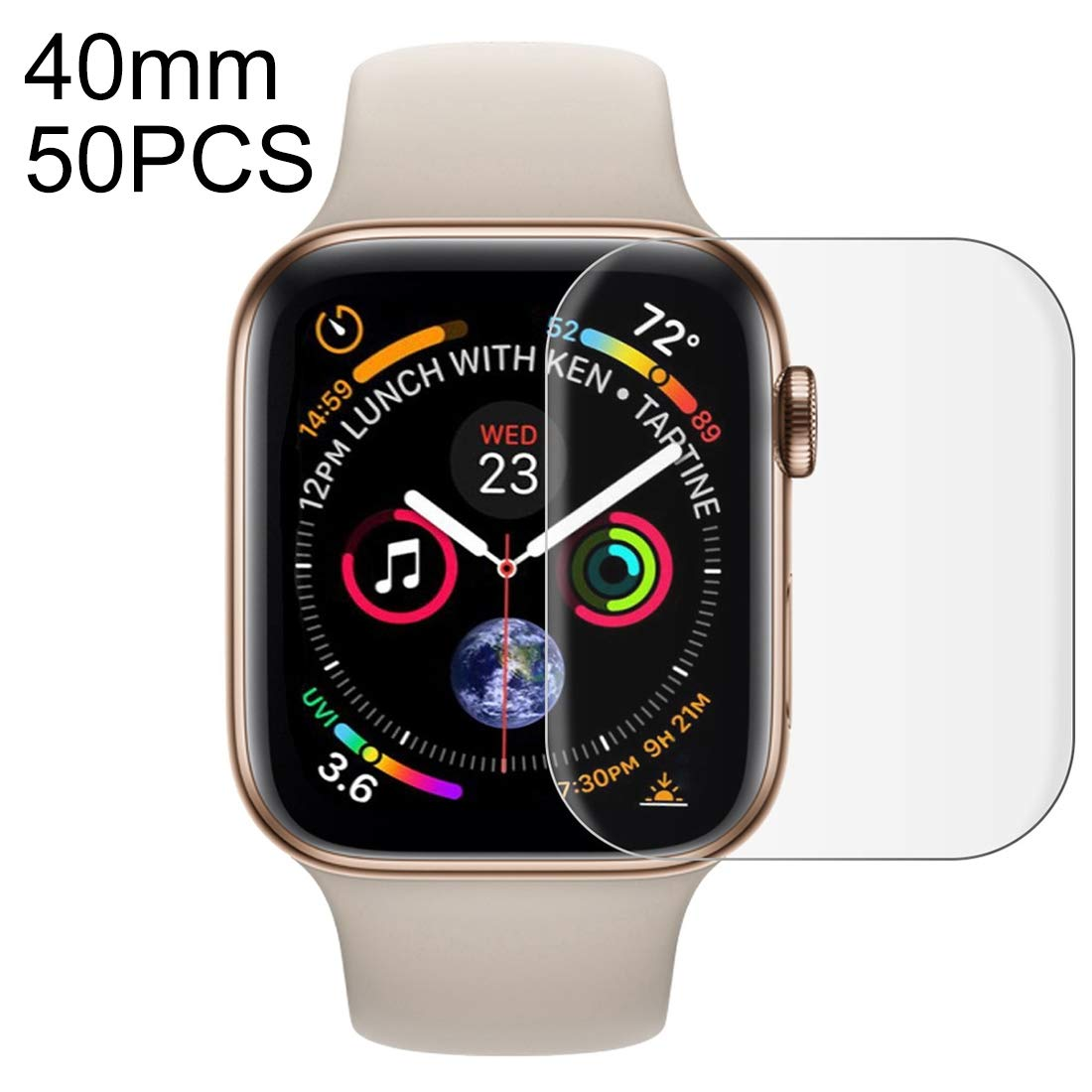 QGTSCREENPROTECTOR 50 PCS for Apple Watch Series 5 & 4 40mm Soft PET Film Full Cover Screen Protector (Color : Transparent) by QGTSCREENPROTECTOR