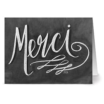amazon com 24 chalkboard thank you note cards decorative merci