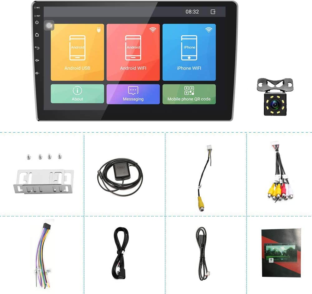 GPS Navigation HD Car Auto Touch Screen Car Radio with Bluetooth Indash Head Unit Support FM//WiFi//Mirror Link//Backup Camera//DVR//USB//SWC Car Audio 1+16G Double Din Car Stereo 10.1 Inch Android