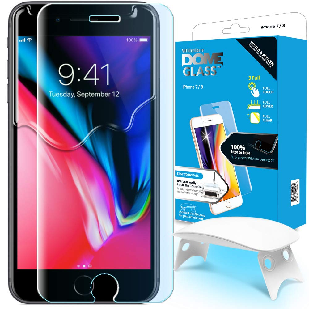 detailed look 05902 d1157 iPhone 8/7 Screen Protector Tempered Glass, Full Cover Screen Shield [Dome  Fix] Easy Install and Repair Kit by Whitestone for Apple iPhone 8/7-1 Pack
