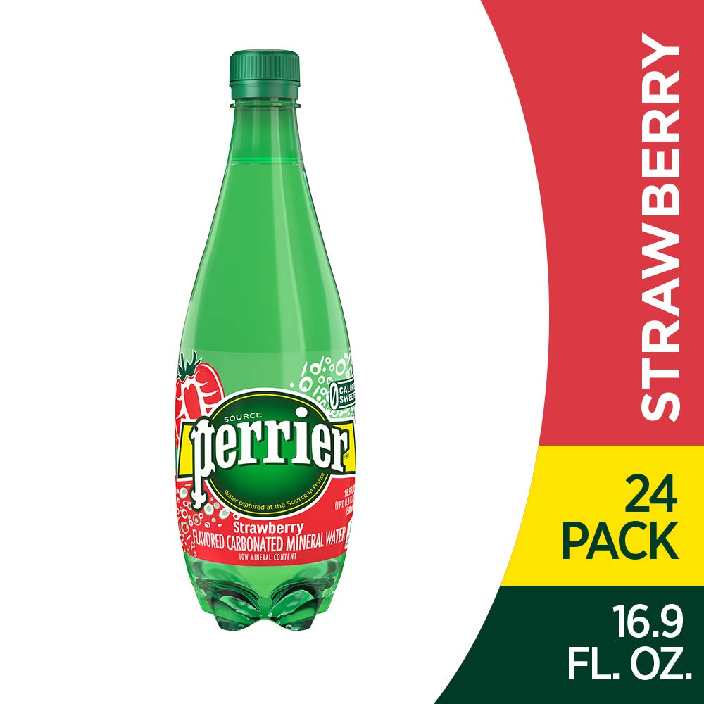 Perrier Strawberry Flavored Carbonated Mineral Water, 16.9 Fl Oz (24 Pack) Plastic Bottles