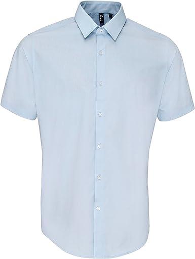 Premier - Camisa de popelina de manga corta gruesa de primera calidad para trabajar Hombre caballero - Trabajo/Fiesta/Verano