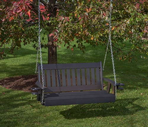 Ecommersify Inc 4FT-Black-Poly Lumber Mission Porch Swing with Cupholder arms Heavy Duty Everlasting PolyTuf HDPE - Made in USA - Amish Crafted