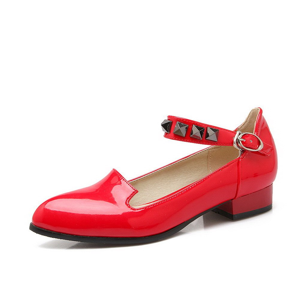 WeiPoot Women's Buckle Low-Heels PU Solid Pointed Closed Toe Pumps-Shoes, Red, 36 by WeiPoot