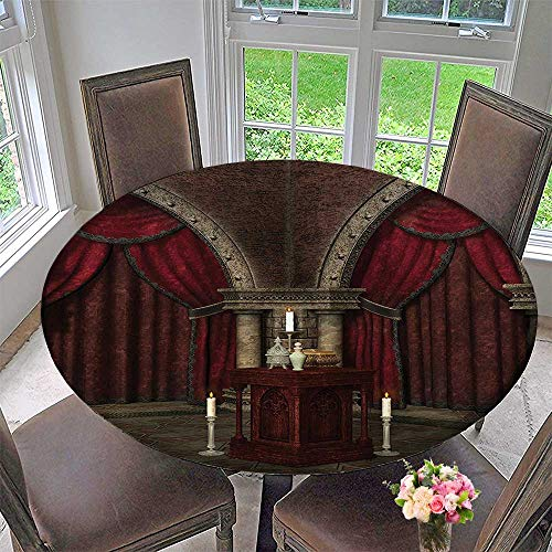 (Mikihome The Round Table Cloth Mysterious Dark Room in Castle Ancient Pillars Candles Spiritual Atmosphere 59