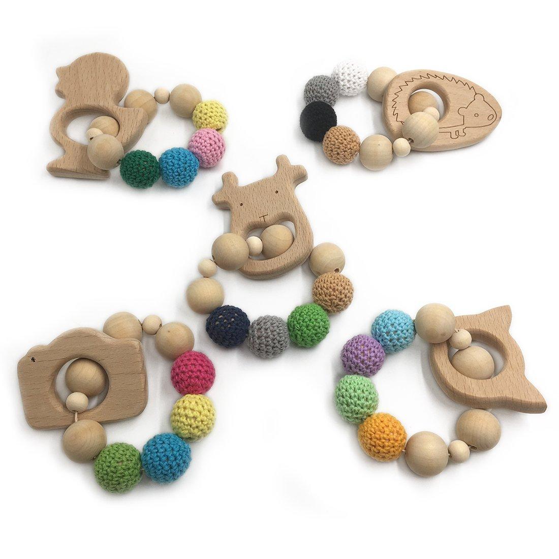 Coskiss 5pcs Häkel-Perlen-Zahnen-Ring-Satz unbehandelter Ahorn-Teether mit organischem Holz-Spielzeug-hölzernes Armband-