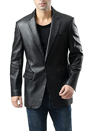 72089e11ac06 BGSD Men s Nicholas One-Button Lambskin Leather Blazer (Regular Tall    Short) at Amazon Men s Clothing store