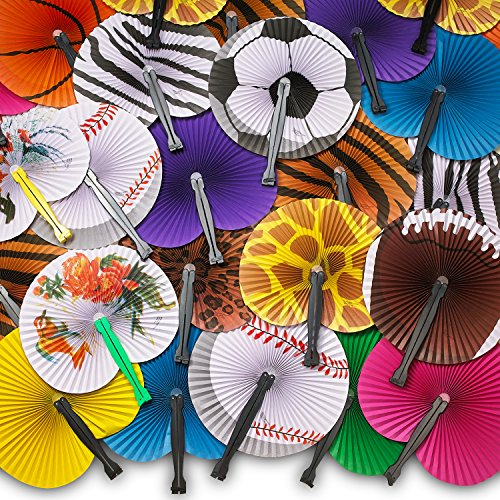 Kicko Folding Paper Fans for Kids - 48 Piece Assortment in Colorful Box - 10 Inch - Easy to Use Chinese Paper Fans for Boys, Girls, Birthdays,, Japanese Party Decoration, Party Favors -