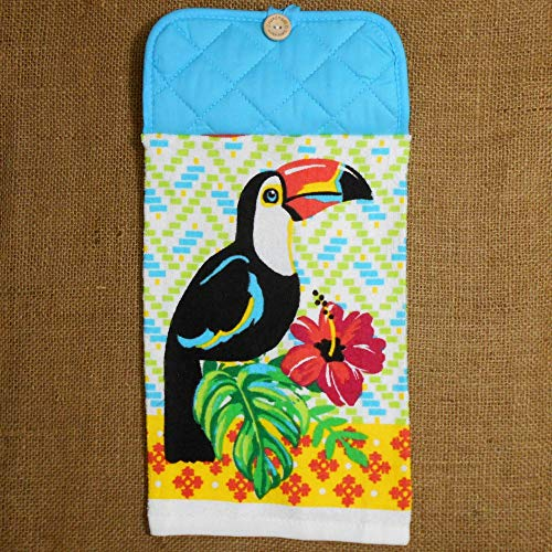 (Toucan and Hibiscus Hanging Dish Towel, Tropical Kitchen Decor)