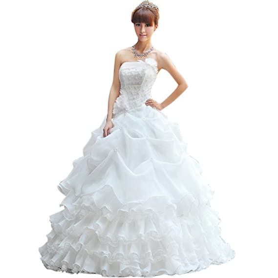 Dearta Womens Ball Gown Strapless Floor-Length Wedding Dress UK 6 Ivory