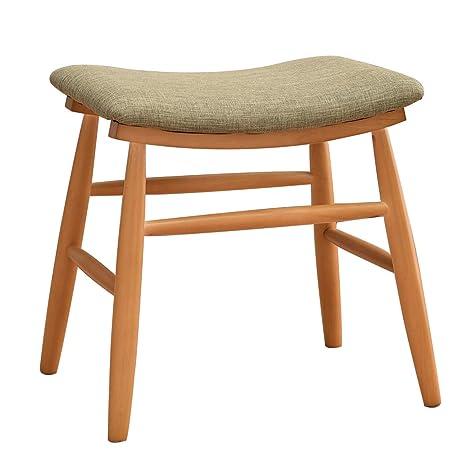 Vlush Schminkhocker, Polsterhocker, Sitzhocker, Hocker Holz, Beine aus Kautschukholz mit konkaver Sitzfläche Modernes Design,