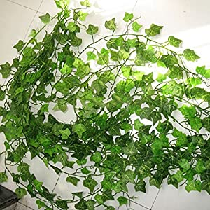 FYYDNZA 2.4M Artificial Ivy Green Leaf Garland Plants Vine Fake Foliage Flowers Home Decor Plastic Artificial Flower Rattan String 2