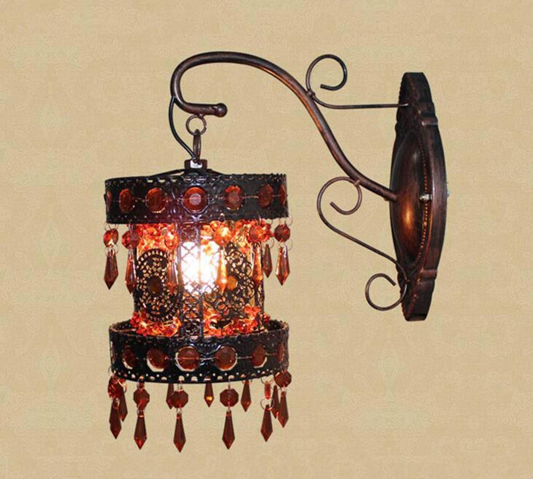 Klassisch Wandlampe Crystal Wandleuchte, Vintage Art Wandleuchte Kreative Schmiedewandleuchte, Lila, Braun (Farbe   braun)