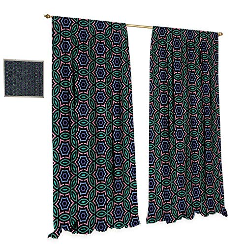 Anniutwo Abstract Patterned Drape for Glass Door Retro Style Ethnic and African Floral Motifs Mosaic Tile Pattern Colorful Design Waterproof Window Curtain W108 x L108 Multicolor -