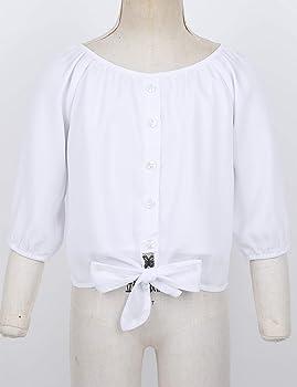 Freebily Blusa Blanca Niña Manga Corta de Gasa Camisa Otoño Manga Larga de 3/4 Tops Elegante con Corbata en Lazo Elegante Blanco 5 Años: Amazon.es: Ropa y accesorios