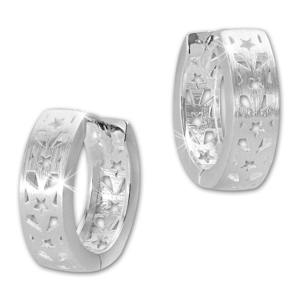 Ohrringe für Damen Matt Creolen 925 Silberschmuck 17mm SDO4280M von SILBERDREAM