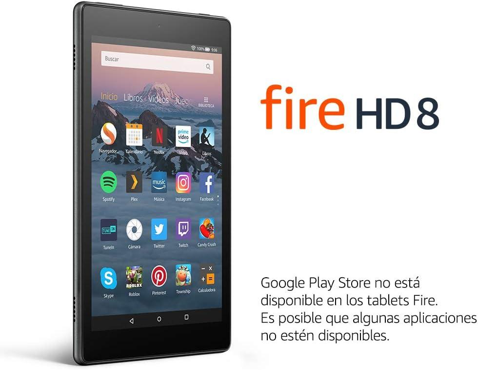 Tablet Fire HD 8   Pantalla HD de 8 pulgadas, 32 GB, negro, sin ...