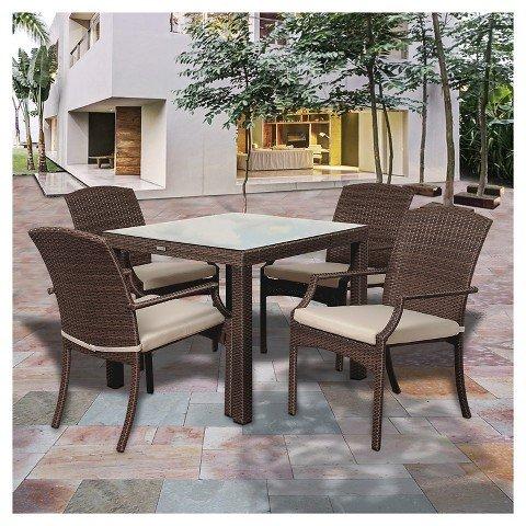 Price comparison product image Miami Beach 5pc Wicker Patio Dining Set - Brown