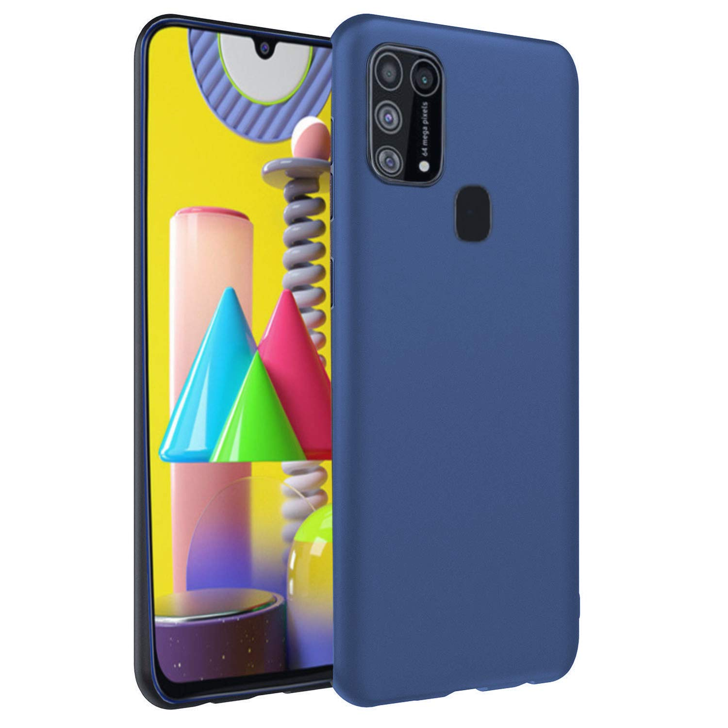 CEDO Back Cover for Samsung Galaxy M31 | All Side Shock Proof Rubberised Matte Soft Silicon Flexible Back Case Cover for Samsung Galaxy M31 (Blue)