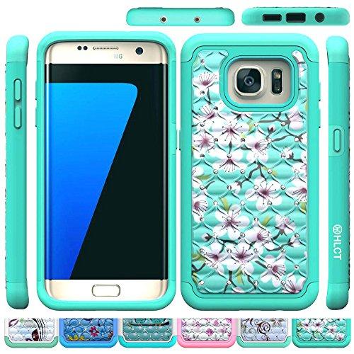 Galaxy S7 Edge Case, HLCT Rugged Bling Diamond Soft-Interior TPU Bumper & Hard PC Shell Back Dual-Layer Case (2016) (Green Green)