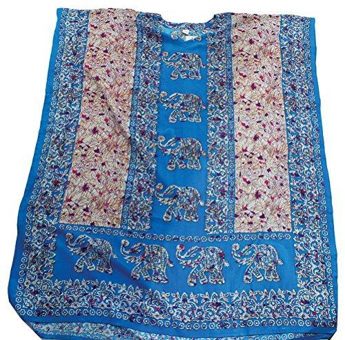 Elephant Line Caftan Kaftan with Matching Headwrap - Available in Several Colors (LightBlue) (Kaftan Elephant)