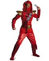 Boys Red Fire Ninja Classic Muscle Costume