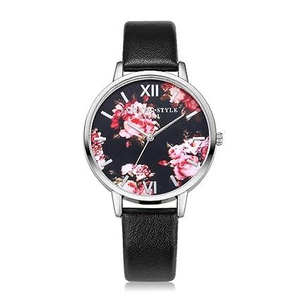 Armbanduhren Ladies Leather Fashion Watch With Flower Face White
