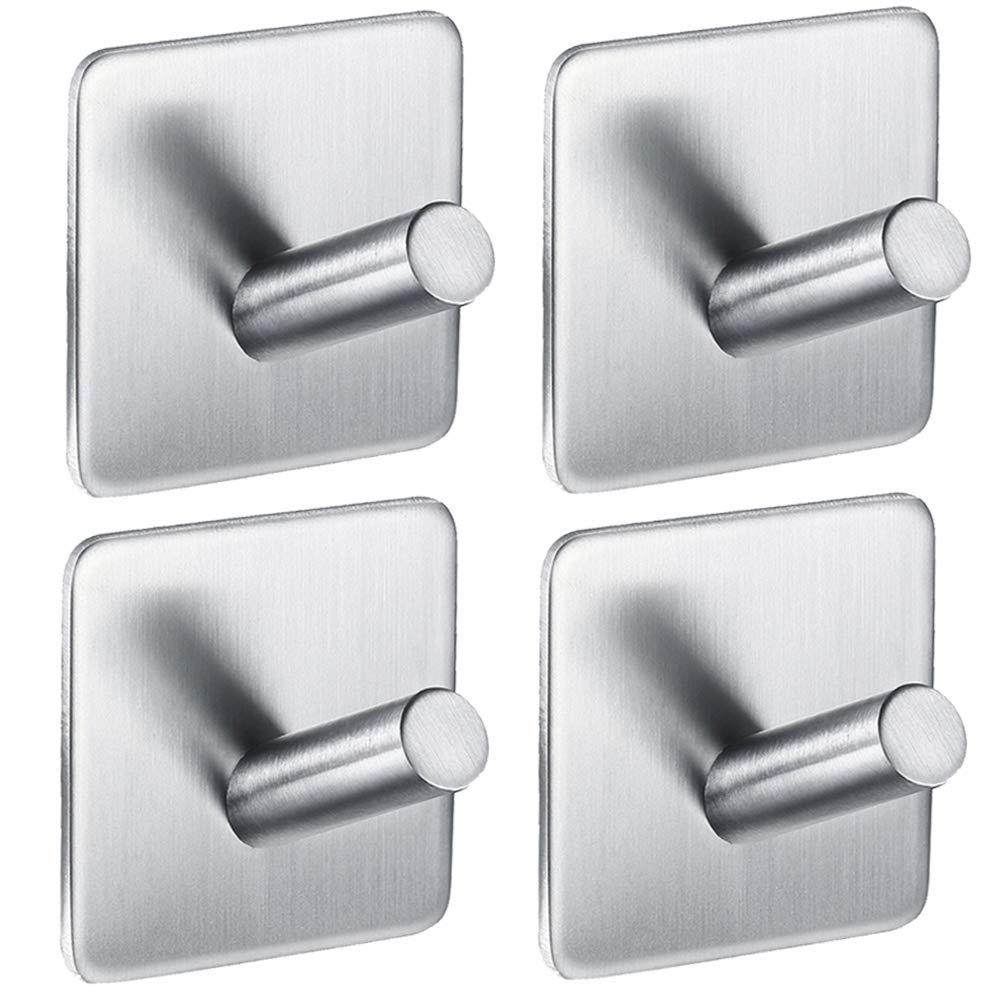 IKDMJ 3M Self-Adhesive Bevel Angle Wall Hooks Robe & Towel Hooks,Strong Stainless Steel,4 Pcs,1.8'' 1.8'',Coat Hooks,Kitchen Hooks,Key Hooks