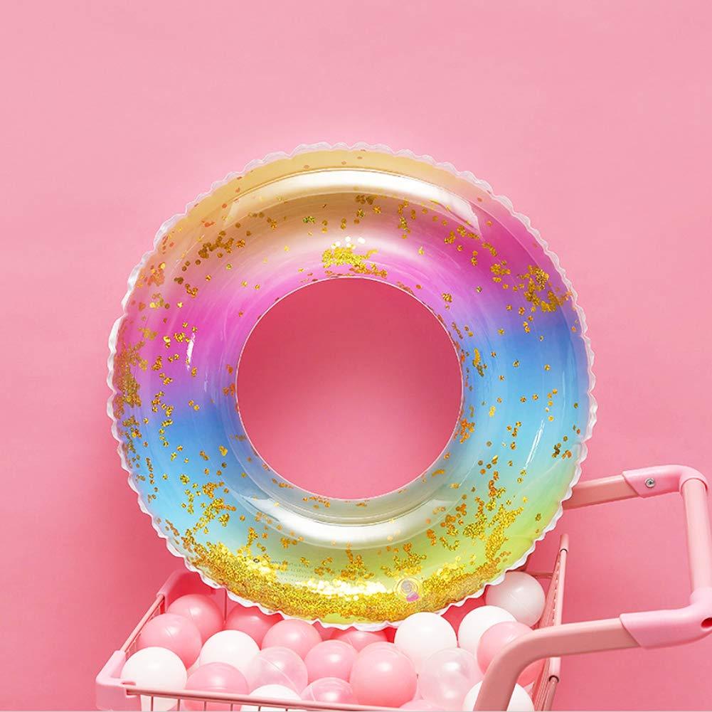 Gorse Transparent Inflatable Tube Swim Tube Glitter Swim Ring Raft Durable Round Summer Pool Float Inflatable Swim Inner Tube for Adults Summer Swim Pool Thicken Gold 35.4inch