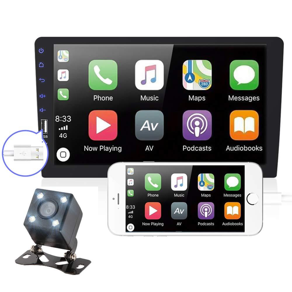 PolarLander Autoradio Bluetooth Est/éreo para autom/óvil Android Auto 9 Pulgadas Pantalla t/áctil V/ídeo Reproductor MP5 USB TF Unidad de Cabeza est/éreo con c/ámara de visi/ón Trasera