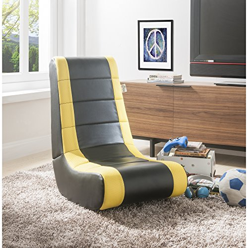 Loungie RockMe Video Games Rocking Chair | Black/Yellow | For Kids/Adults | By Inspired Home (And Chairs Game Room Tables)