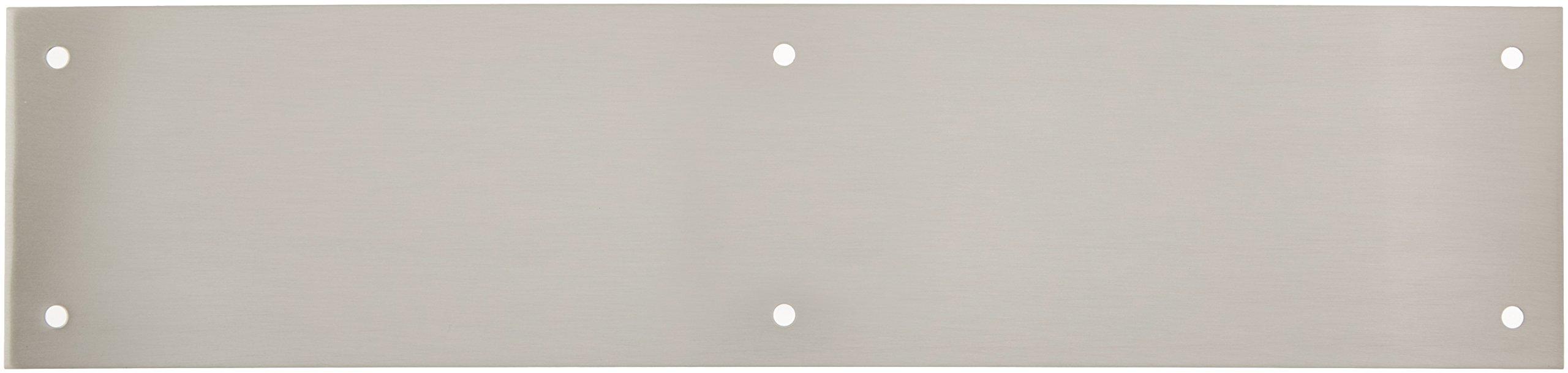 Baldwin 2123 3-1/2 Inch x 15 Inch Solid Brass Square Edge Push Plate, Satin Nickel