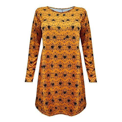 TWGONE Fashion Womens Ladies Halloween Spider Long Sleeve Party Mini Dress Polyester Tops(US-1/CN-S,Yellow)