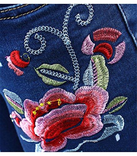 Jeans ricamo Sporco Blue fiore Pantaloni per donne Pantaloni estendibili Jeans Jeans Skinny con donna floreali qAUr8Ut