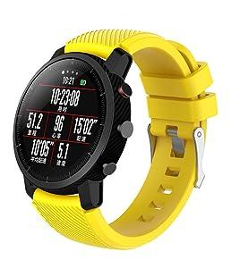 Saisiyiky Cinturino di Ricambio in Gomma di Silicone Morbido per Huawei Amazfit Stratos Smart Watch 2/2S Stratos 22 mm, Giallo