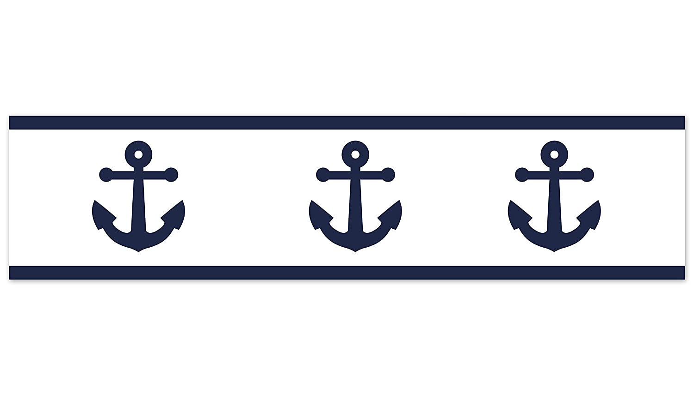 Nautical Theme Ocean Sailboat Sea Marine Sailor Anchor Unisex Gender Neutral Sweet Jojo Designs Navy Blue White Anchors Wallpaper Wall Border