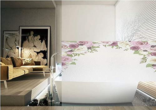 Ylljy00 Roses Decorations 3D Window Film,Roses and Lisianthus Berries Arch Decoration Marriage Gatherings Artistic Design No Glue Privacy Frosted Window Glass Film