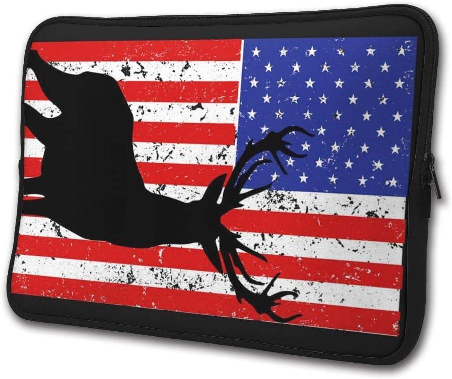 SWEET-YZ Laptop Sleeve Case Vintage Flag Deer Notebook Computer Cover Bag Compatible 13-15 Inch Laptop